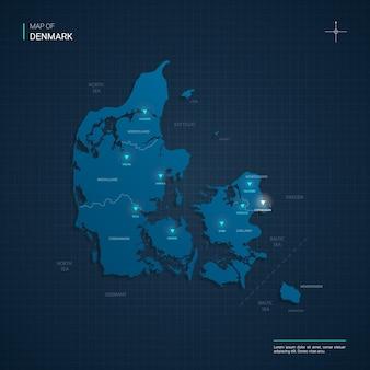 Mapa danii z niebieskimi punktami świetlnymi neonu - trójkąt na ciemnoniebieskim gradiencie