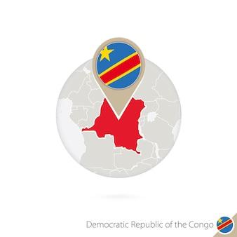 Mapa dr konga i flaga w okręgu. mapa dr konga, przypięcie flagi dr konga. mapa dr kongo w stylu globu. ilustracja wektorowa.