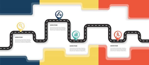 Mapa drogowa infografiki szablon