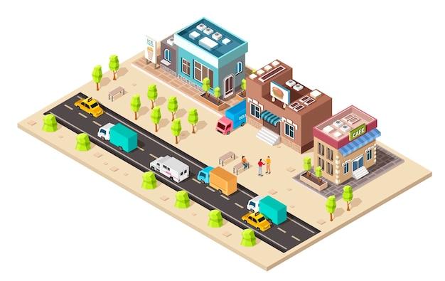 Mapa dzielnicy biznesowej miasta z różnymi budynkami. izometryczny