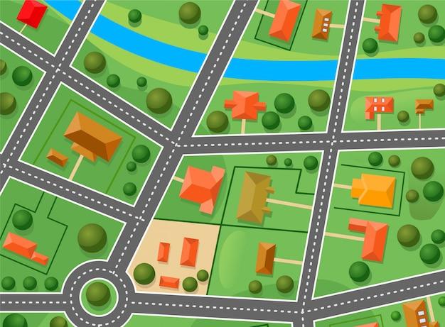 Mapa dzielnicy podmiejskiej na projekt sprzedanych nieruchomości