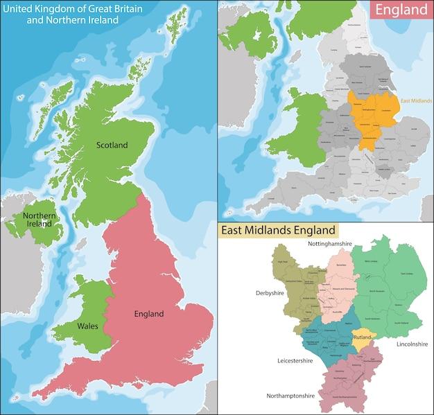 Mapa east midlands w anglii