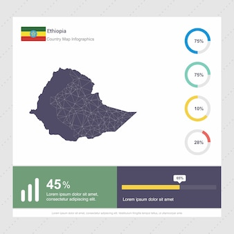 Mapa etiopii & flaga infografiki szablon