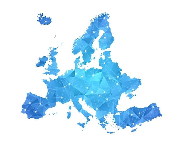 Mapa europy - abstrakcyjna geometryczna popsutymi trójkątna grafika gradientu w stylu low poly