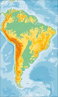 Mapa fizyczna ameryki południowej
