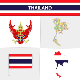 Mapa flagi tajlandii i herb