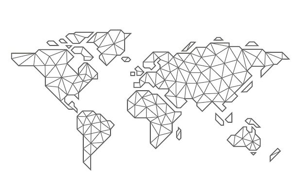 Mapa globalnego punktu planety ziemi w stylu liniowym