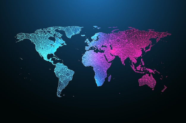 Mapa globalnej sieci społecznościowej planety