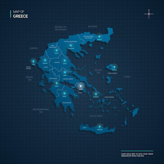 Mapa grecji z niebieskimi punktami świetlnymi neonu - trójkąt na ciemnoniebieskim gradiencie