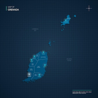 Mapa grenady z niebieskimi punktami świetlnymi neonów - trójkąt na ciemnoniebieskim gradiencie