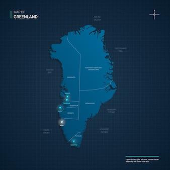 Mapa grenlandii z niebieskimi punktami świetlnymi neonów - trójkąt na ciemnoniebieskim gradiencie