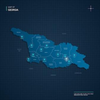 Mapa gruzji z niebieskimi neonowymi punktami świetlnymi - trójkąt na ciemnoniebieskim gradiencie