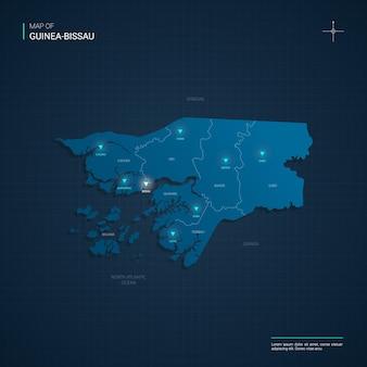 Mapa gwinei bissau z niebieskimi punktami świetlnymi neonów - trójkąt na ciemnoniebieskim gradiencie