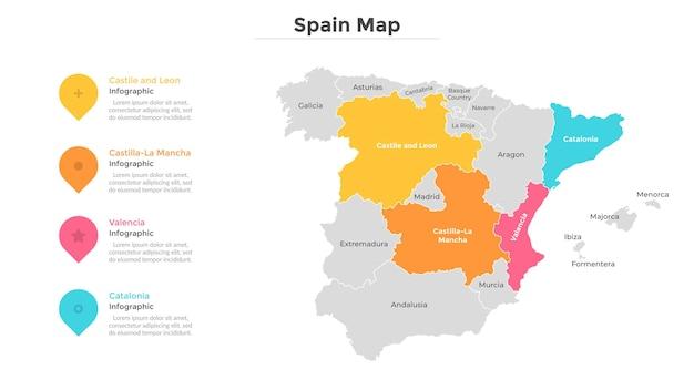 Mapa hiszpanii podzielona na prowincje lub regiony o nowoczesnych granicach. wskazanie położenia geograficznego. szablon projektu plansza. ilustracja wektorowa do prezentacji, broszury, strony turystycznej.
