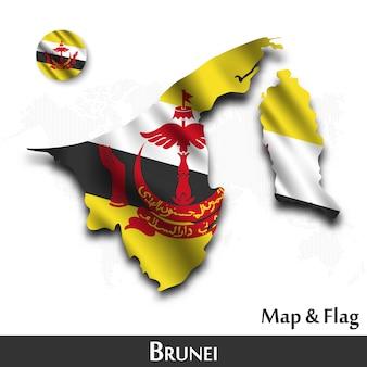 Mapa i flaga brunei. machający wzór tkaniny. kropka tło mapy świata.