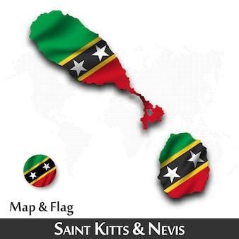 Mapa i flaga saint kitts i nevis. machający wzór tkaniny. kropka tło mapy świata.