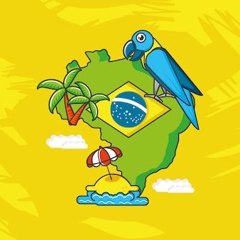 Mapa ilustracji brazylii