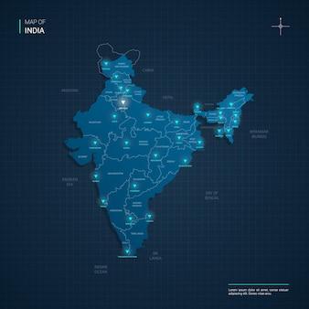 Mapa indii z niebieskimi punktami świetlnymi neonu - trójkąt na ciemnoniebieskim gradiencie