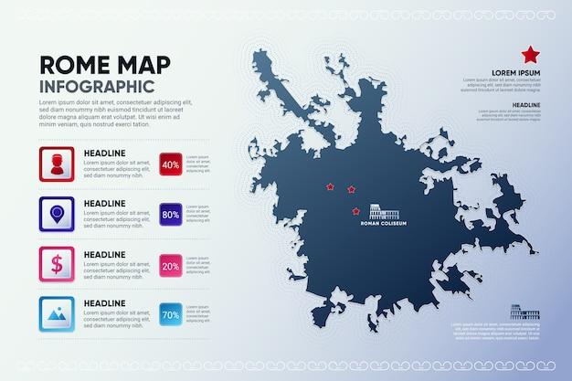 Mapa infografiki stolicy metropolii rzymu