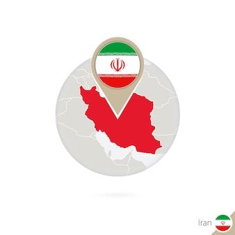 Mapa iranu i flaga w koło. mapa iranu, przypięcie flagi iranu. mapa iranu w stylu świata. ilustracja wektorowa.