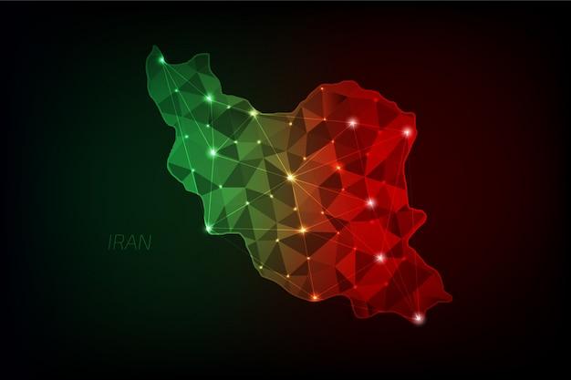 Mapa iranu wielokątna ze świecącymi światłami i linią