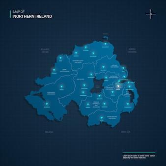 Mapa irlandii północnej z niebieskimi punktami świetlnymi neonu - trójkąt na ciemnoniebieskim gradiencie