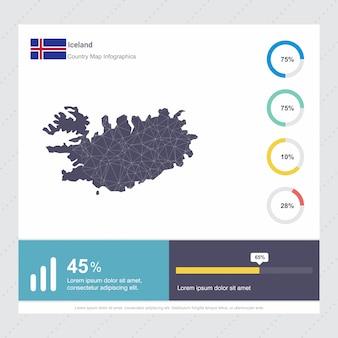 Mapa islandii & flaga infografiki szablon