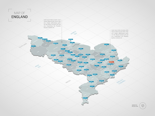 Mapa izometryczna anglii. stylizowana ilustracja mapy z miastami, granicami, stolicą, podziałami administracyjnymi i znakami wskaźnika; gradientowe tło z siatką.