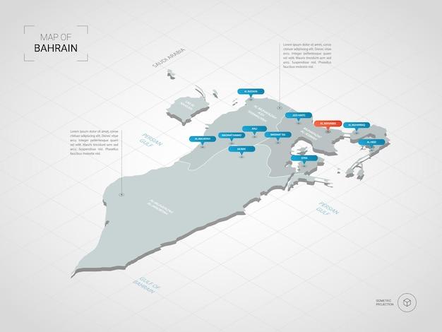 Mapa izometryczna bahrajnu. stylizowana ilustracja mapy z miastami, granicami, stolicą, podziałami administracyjnymi i znakami wskaźnika; gradientowe tło z siatką.