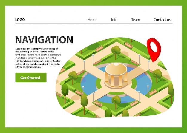 Mapa izometryczna mobilna nawigacja gps. publiczny letni park nawigacyjny pin czerwony kolor. szablon strony docelowej.
