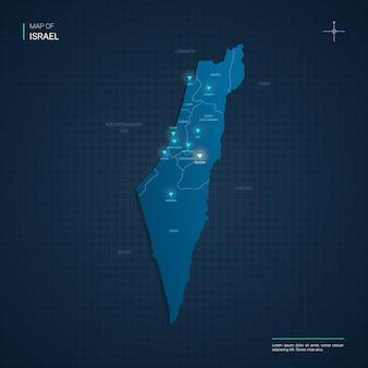 Mapa izraela z niebieskimi neonowymi punktami świetlnymi - trójkąt na ciemnoniebieskim gradiencie