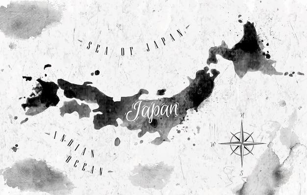 Mapa japonia atramentu