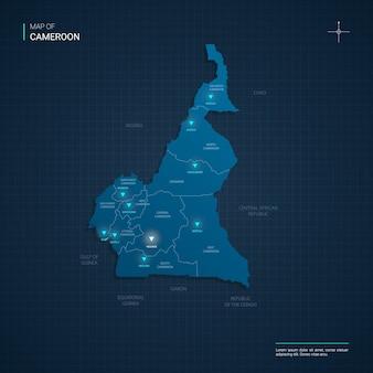 Mapa kamerunu z niebieskimi punktami światła neonowego