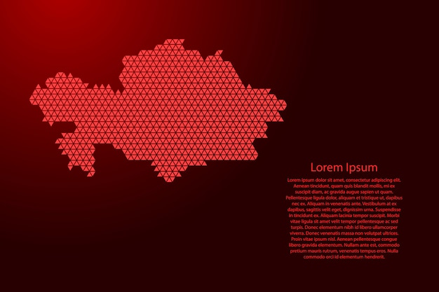 Mapa kazachstanu streszczenie schemat z czerwonych trójkątów powtarzających się geometrycznie z węzłami na baner, plakat, kartkę z życzeniami. .