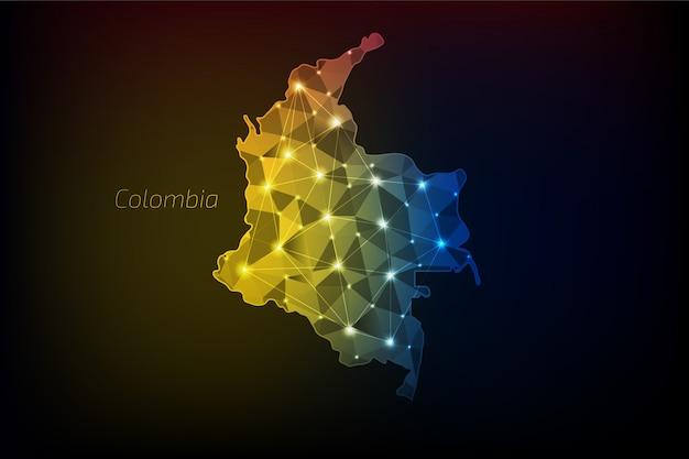 Mapa kolumbii wielokątne ze świecącymi światłami i linią