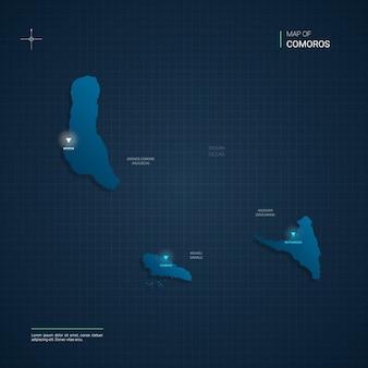 Mapa komorów z niebieskimi punktami światła neonowego
