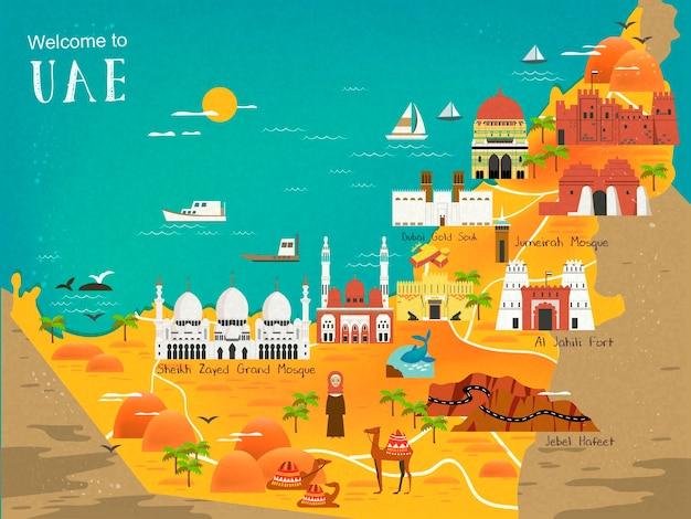 Mapa koncepcji podróży zea z atrakcjami i specjalnościami