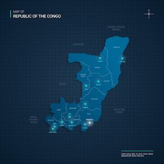 Mapa konga z niebieskimi punktami światła neonowego