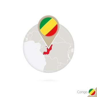 Mapa kongo i flaga w kręgu. mapa kongo, przypięcie flagi kongo. mapa konga w stylu globu. ilustracja wektorowa.