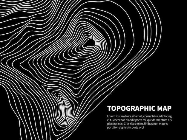 Mapa konturowa. ulga geometryczna szablon kartografii linii