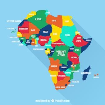 Mapa kontynentu afryki w różnych kolorach