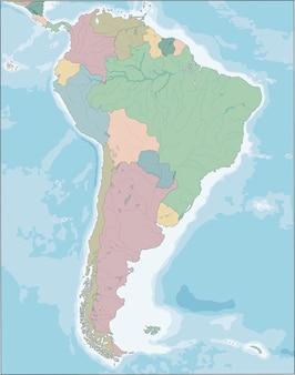Mapa kontynentu ameryki południowej z krajami