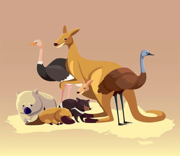 Mapa kontynentu australijskiego zwierzęta ilustracja dzikość