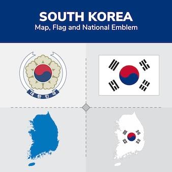 Mapa korei południowej, flaga i godło państwowe