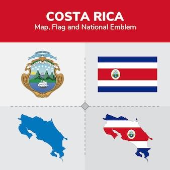 Mapa kostaryki, flaga i godło państwowe