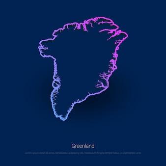 Mapa kraju grenlandii niebieskie tło prezentacji