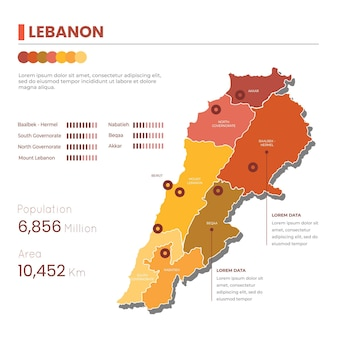 Mapa libanu płaska konstrukcja