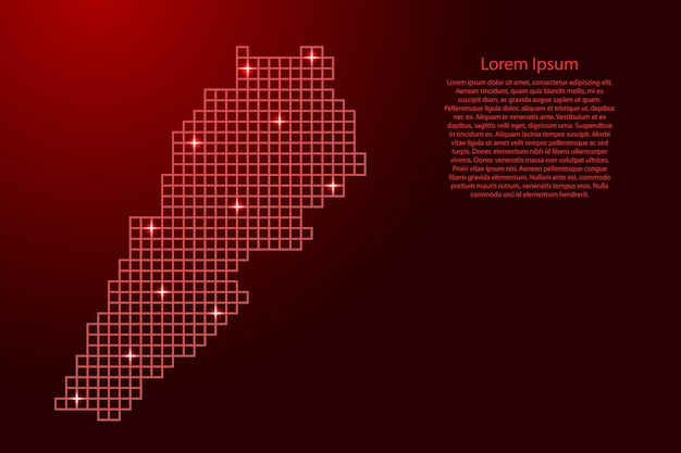 Mapa libanu sylwetka z czerwonych kwadratów struktury mozaiki i świecących gwiazd. ilustracja wektorowa.