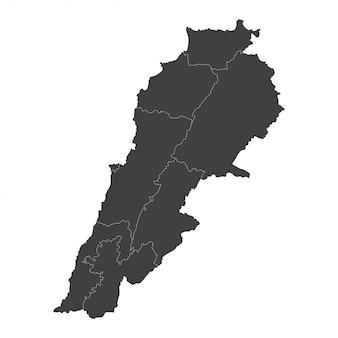 Mapa libanu z wybranymi regionami w kolorze czarnym na białym