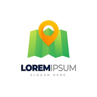 Mapa logo gradientu lokalizacji kolorowy szablon logo mapy